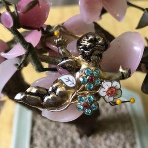 Vintage Cora enamel rhinestone angel brooch